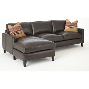 Two Piece Leather Chaise Sofa with Fabric Toss Pillows
