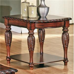 Traditional Rich Brown 1-Shelf End Table