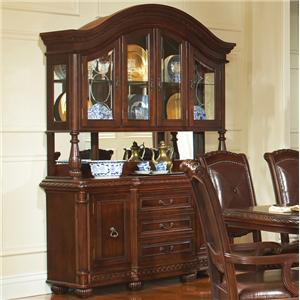 Traditional Rich Brown Buffet & Hutch Set