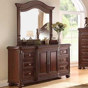 Traditional Dresser and Mirror Combination with 6 Drawers