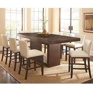 9 Piece Counter Height Dining Set with Tiffany Upholstered Chairs
