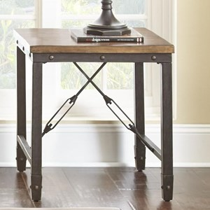 Industrial End Table with Solid Pine Top