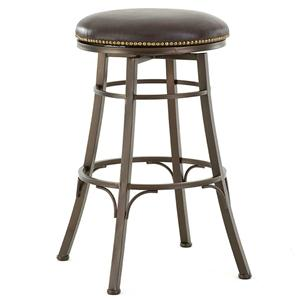 Backless Swivel Bar Stool with Nailhead Trim