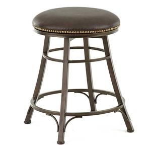 Backless Swivel Counter Stool with Nailhead Trim