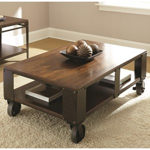 Industrial Cocktail Table with Casters