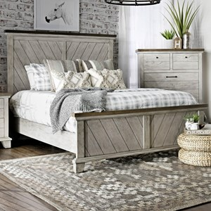Farmhouse Queen Panel Bed with Chevron Headboard