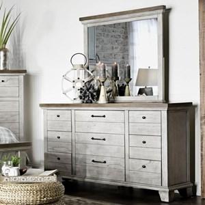 Farmhouse Nine Drawer Dresser and Mirror Set