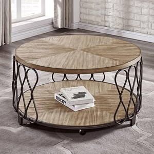 Relaxed Vintage Wood and Metal Round Cocktail Table with Casters