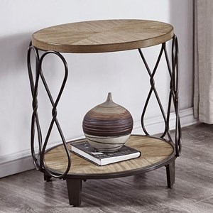 Relaxed Vintage Wood and Metal Round End Table