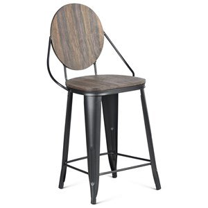 Industrial Counter Height Chair with Scratch Resistant Finish