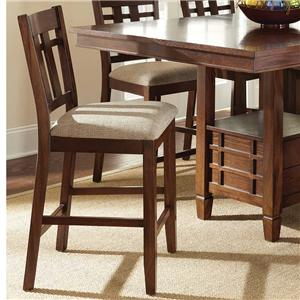 Side Counter Chair with Slat Design and Tapered Legs