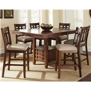 7 Piece Counter Height Dining Set with Storage Table