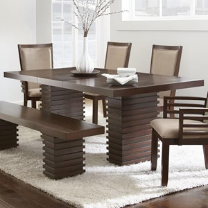 Contemporary Dining Table with Twin Pedestal Base