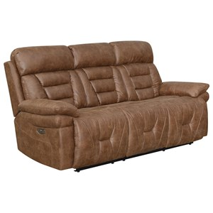 Casual Lay Flat Power Reclining Sofa with Power Headrest and USB Port