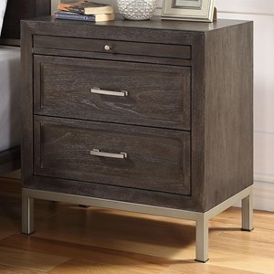 Contemporary Wood/Metal Nightstand with Pull-Out Shelf