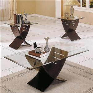 3 Pack Occasional Table Group with Glass Top