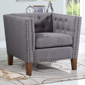 Tufted Accent Chair with Nailheads