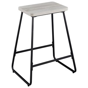 Contemporary Counter Height Stool with Black Silver Metal Base