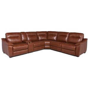 Contemporary Power Reclining 6-Piece Sectional with Power Headrests