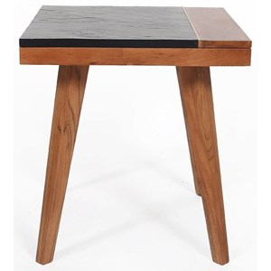 Mid-Century Modern Square End Table with Slate Top