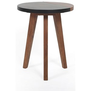 Mid-Century Modern Round Accent End Table with Slate Top