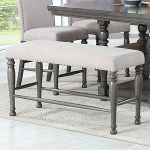 Traditional Upholstered Counter Height Dining Bench with Nailheads