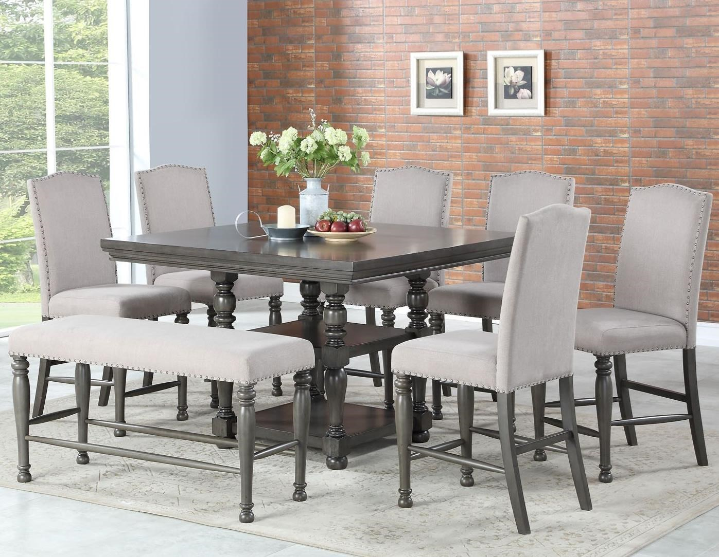 Caswell 8 Pc Counter Dining Set w/ Bench by Steve Silver at Nassau Furniture and Mattress