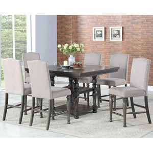Seven Piece Traditional Counter Height Dining Set with Bench