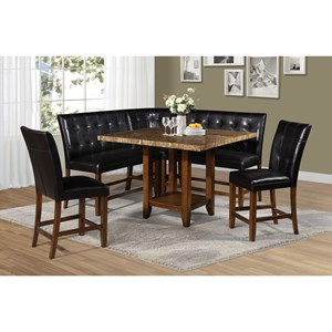 6 Piece Faux Marble Counter Table and Upholstered Chair/Bench Set