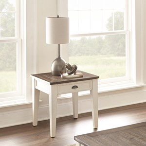 Farmhouse End Table with Two-Tone Finish
