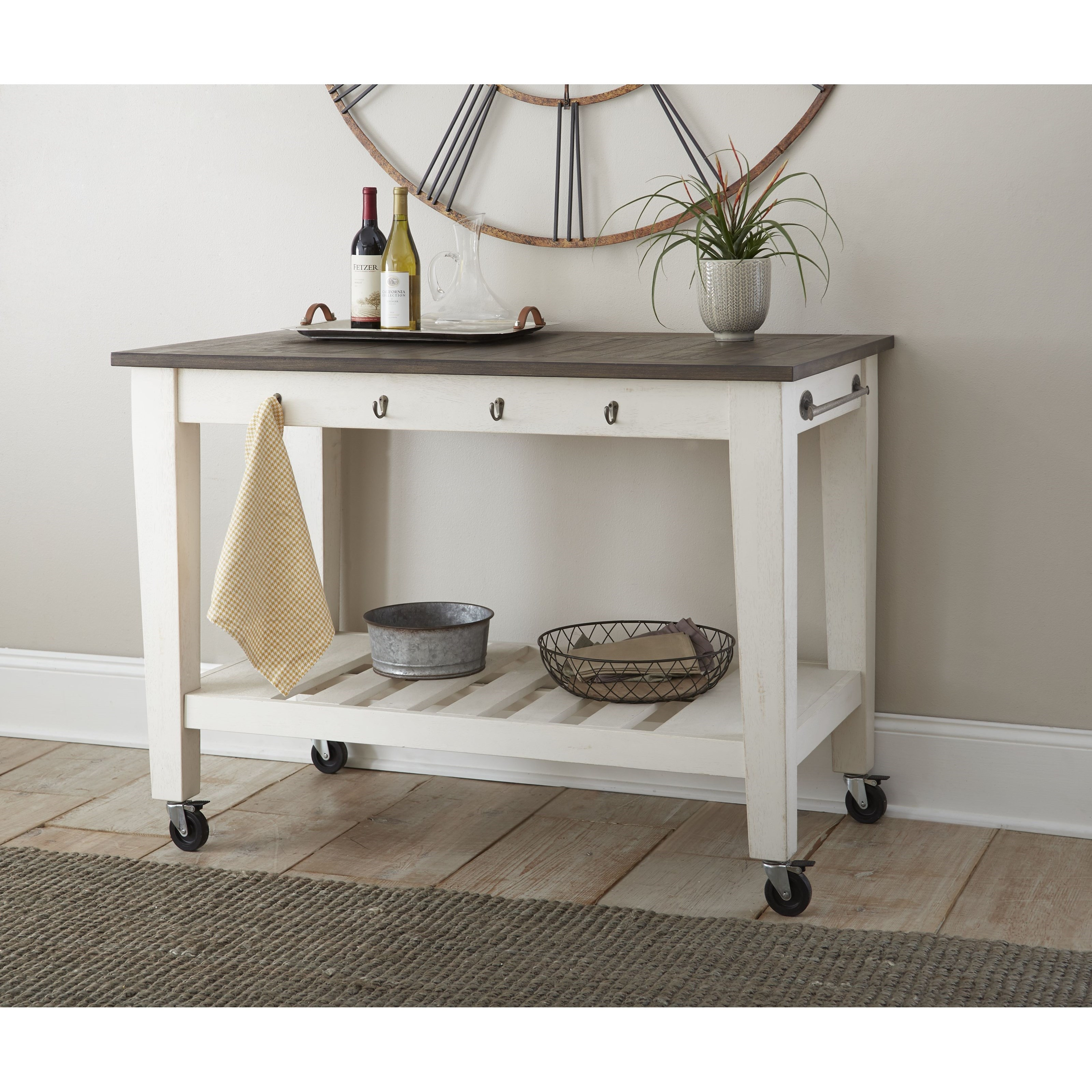 Cayla Two-Tone Kitchen Cart by Steve Silver at Walker's Furniture