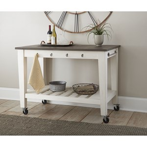Two-Tone Kitchen Cart with Casters