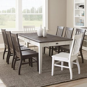 9 Piece Two-Tone Table and Chair Set