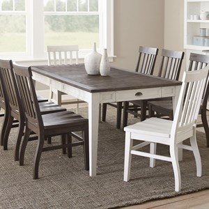 "Rectangular Two-Tone Dining Table with 16"" Leaf"