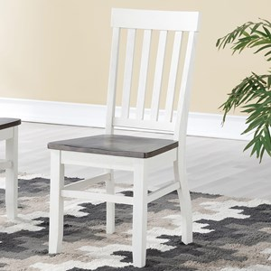Rustic Dining Side Chair with Vertical Slat Back