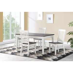 Rustic 5-Piece Dining Set with Plank Wood Table