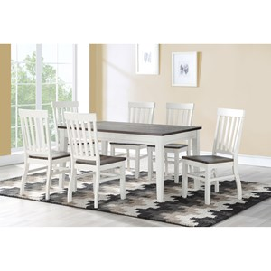 Rustic 7-Piece Dining Set with Plank Wood Table