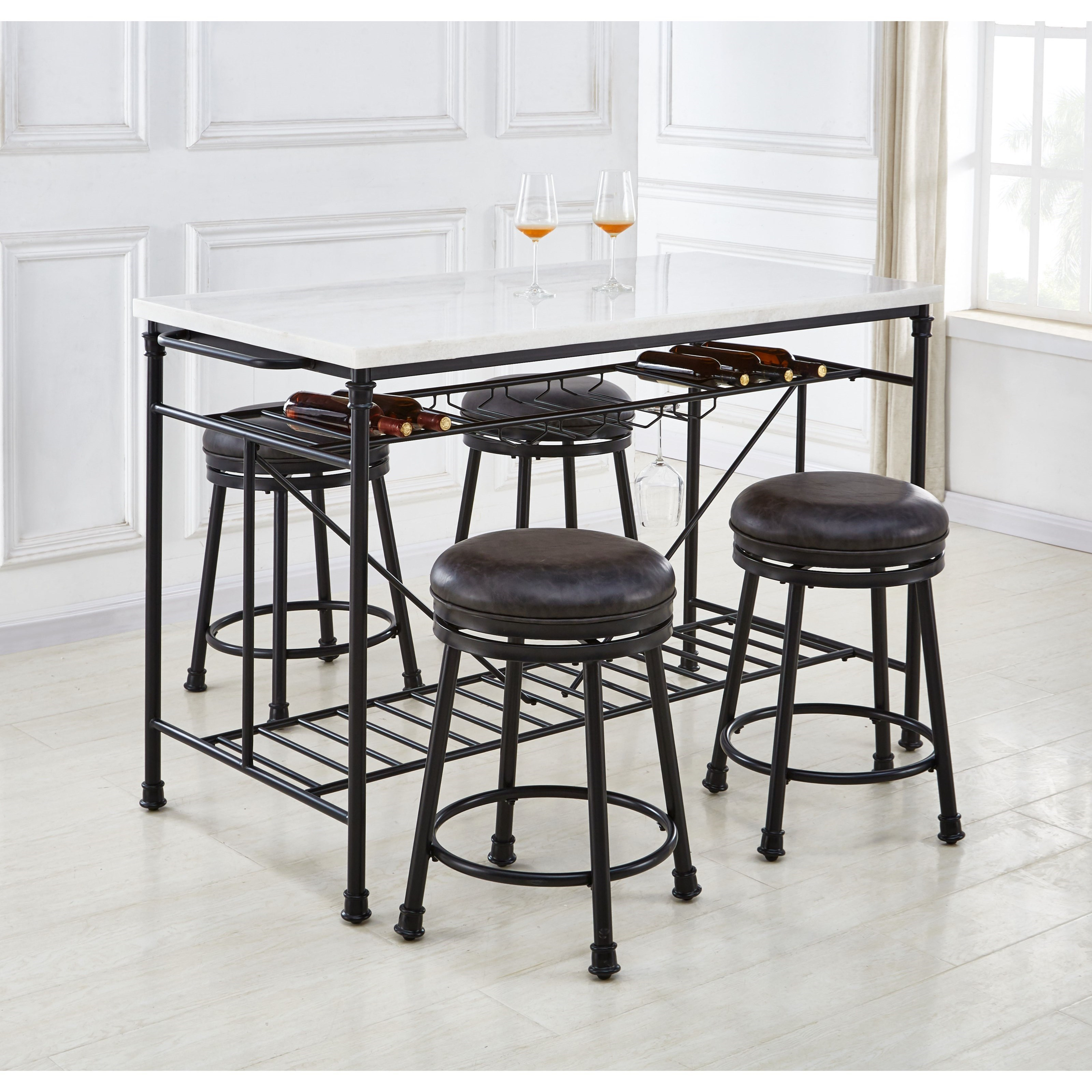Claire 5-Piece Kitchen Island and Stool Set by Steve Silver at Walker's Furniture