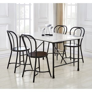 Contemporary 5-Piece Dining Table and Chair Set with White Marble Top