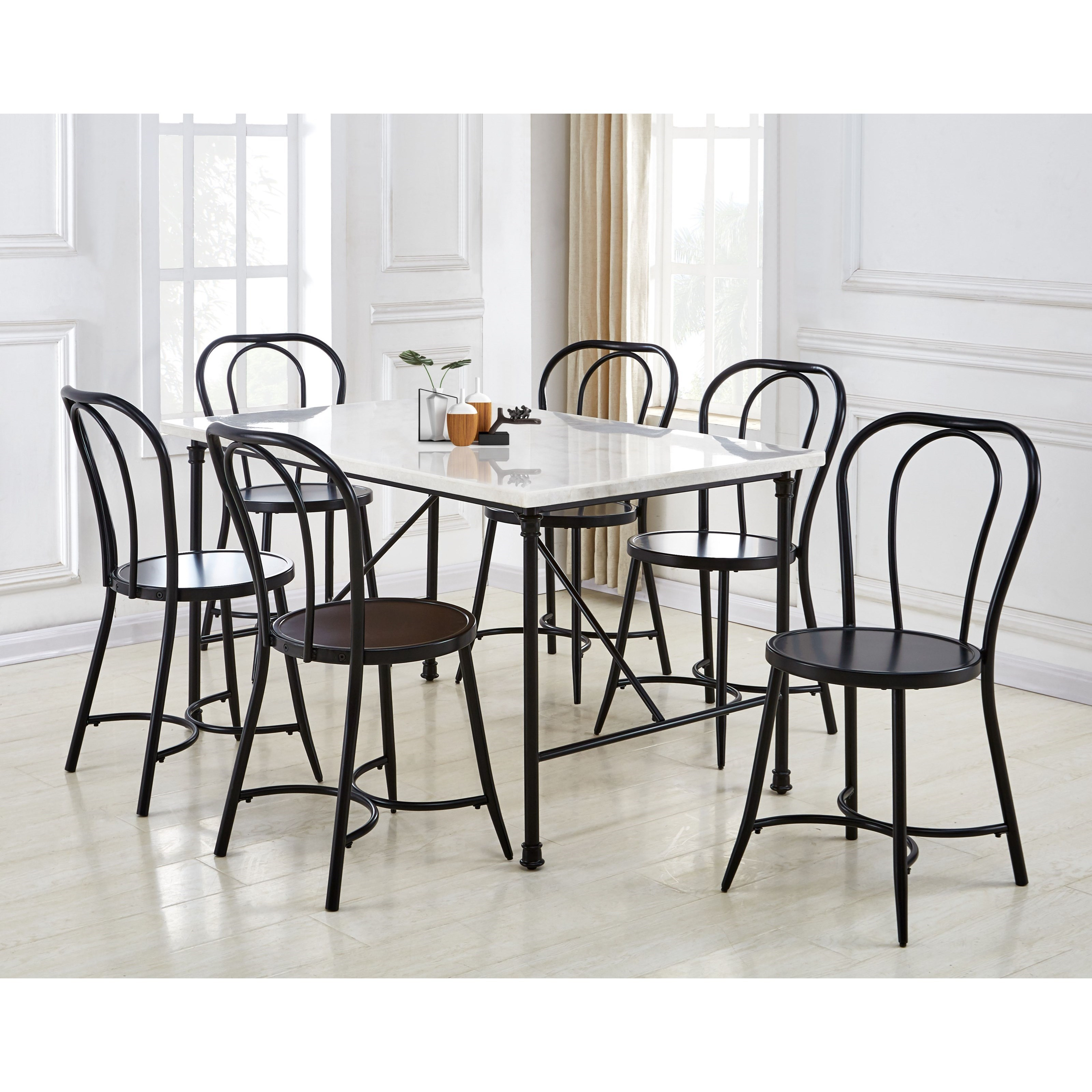 Claire 7-Piece Table and Chair Set by Star at EFO Furniture Outlet