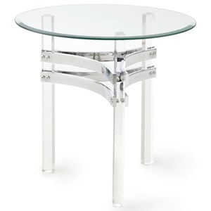 Round End Table with Acrylic Legs