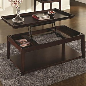 Transitional Lift Top Cocktail Table with Casters