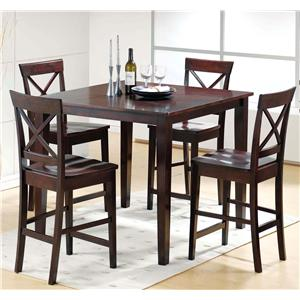 5-Piece Casual Counter Height Table & X-Back Chair Set