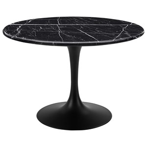 Mid Century Modern Round Marble Top Dining Table - Black Top & Black Base