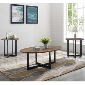 Industrial Living Room Table 3 Piece Set