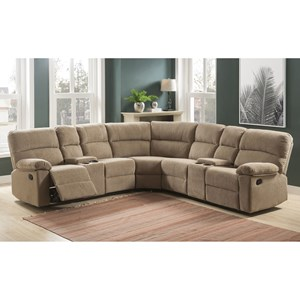 Casual Four Seat Reclining Sectional Sofa