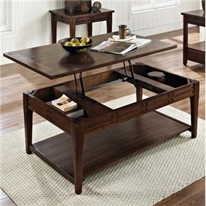 Lift Top Cocktail Table with Casters and Shelf