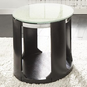 Contemporary Crackled Glass Round End Table