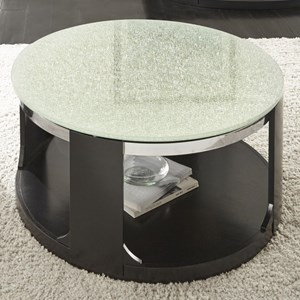 Contemporary Crackled Glass Cocktail Table with Casters