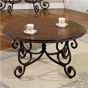 Traditional Round Scrolled Cocktail Table